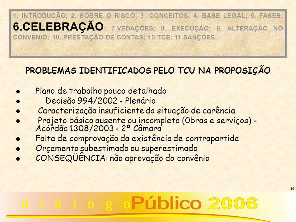 20 Plano de trabalho pouco detalhado Decisão 994/2002 - Plenário Caracterização insuficiente da situação de carência Projeto básico ausente ou incompl