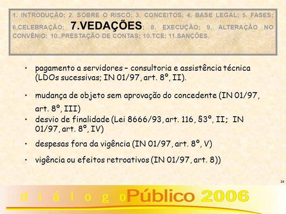 24 pagamento a servidores – consultoria e assistência técnica (LDOs sucessivas; IN 01/97, art. 8º, II). mudança de objeto sem aprovação do concedente