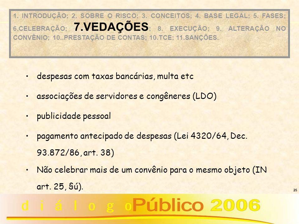 25 despesas com taxas bancárias, multa etc associações de servidores e congêneres (LDO) publicidade pessoal pagamento antecipado de despesas (Lei 4320