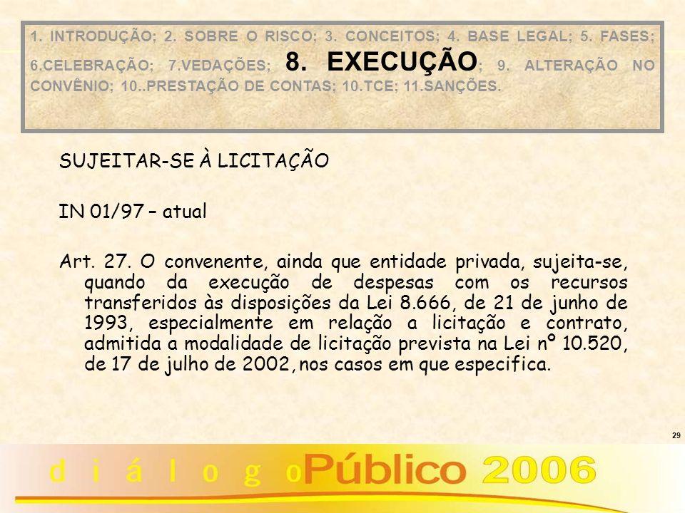 29 SUJEITAR-SE À LICITAÇÃO IN 01/97 – atual Art. 27. O convenente, ainda que entidade privada, sujeita-se, quando da execução de despesas com os recur