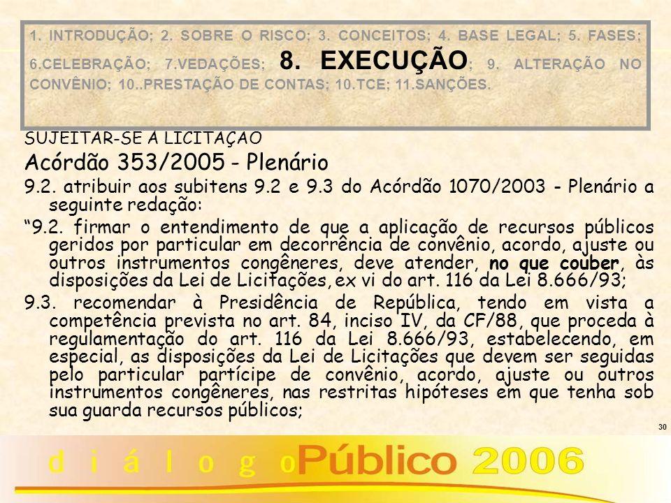 30 SUJEITAR-SE À LICITAÇÃO Acórdão 353/2005 - Plenário 9.2. atribuir aos subitens 9.2 e 9.3 do Acórdão 1070/2003 - Plenário a seguinte redação: 9.2. f