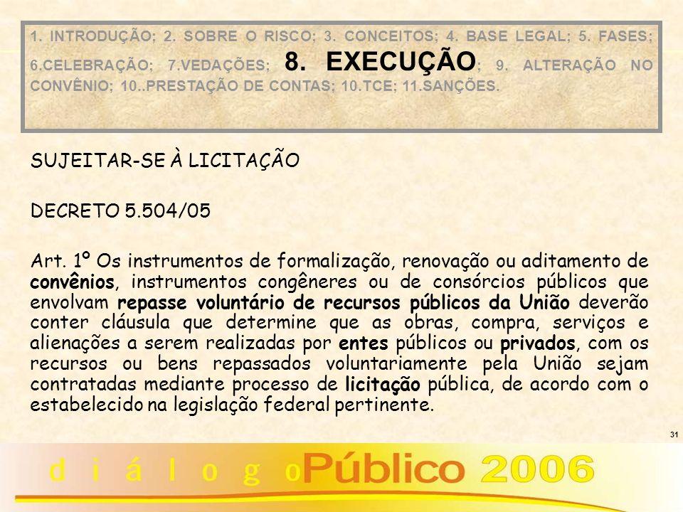 31 SUJEITAR-SE À LICITAÇÃO DECRETO 5.504/05 Art. 1º Os instrumentos de formalização, renovação ou aditamento de convênios, instrumentos congêneres ou