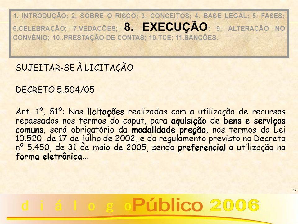 32 SUJEITAR-SE À LICITAÇÃO DECRETO 5.504/05 Art. 1º, §1º: Nas licitações realizadas com a utilização de recursos repassados nos termos do caput, para
