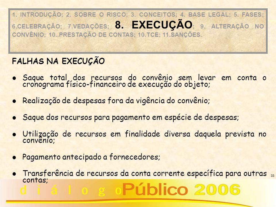 33 FALHAS NA EXECUÇÃO Saque total dos recursos do convênio sem levar em conta o cronograma físico-financeiro de execução do objeto; Realização de desp
