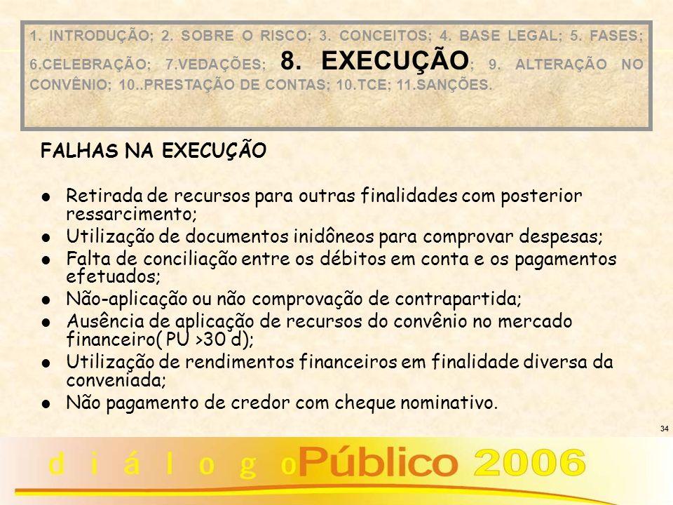 34 FALHAS NA EXECUÇÃO Retirada de recursos para outras finalidades com posterior ressarcimento; Utilização de documentos inidôneos para comprovar desp