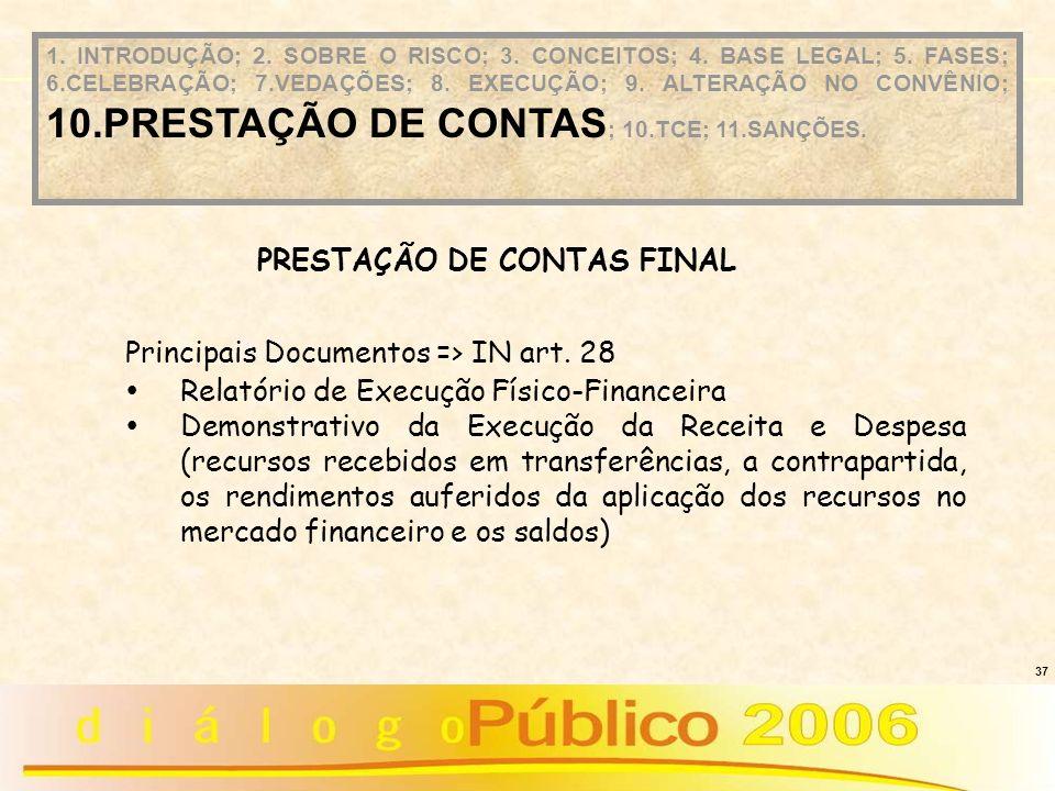 37 Principais Documentos => IN art. 28 Relatório de Execução Físico-Financeira Demonstrativo da Execução da Receita e Despesa (recursos recebidos em t