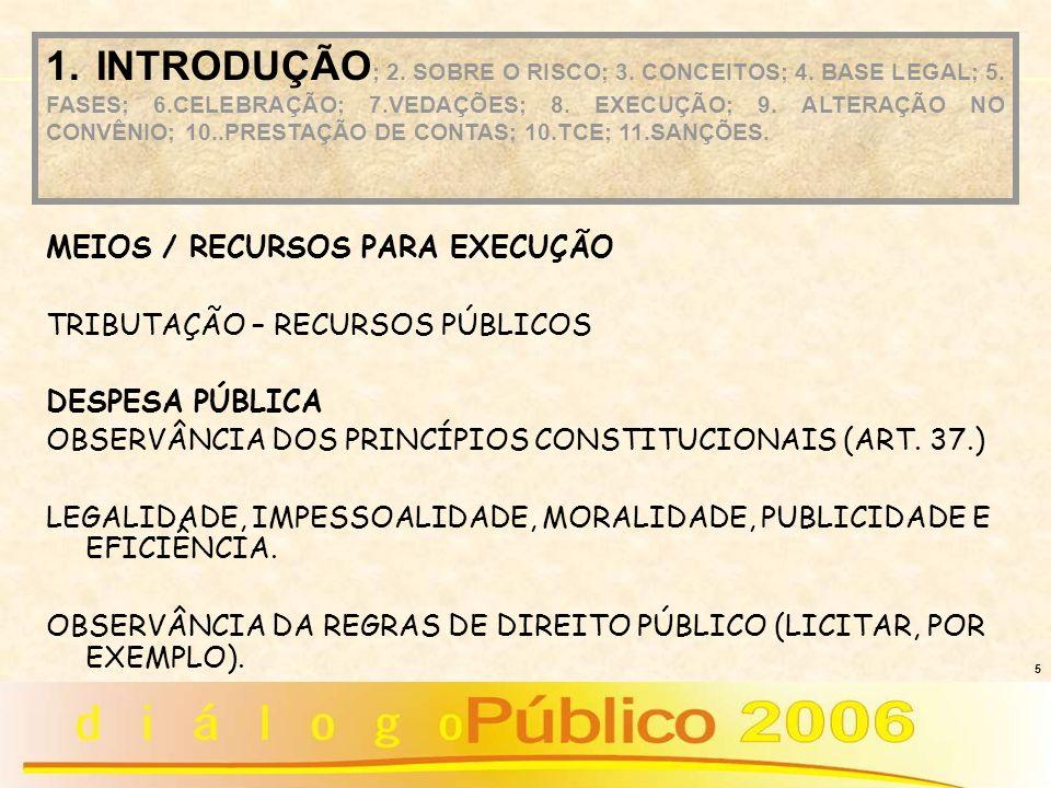 5 MEIOS / RECURSOS PARA EXECUÇÃO TRIBUTAÇÃO – RECURSOS PÚBLICOS DESPESA PÚBLICA OBSERVÂNCIA DOS PRINCÍPIOS CONSTITUCIONAIS (ART. 37.) LEGALIDADE, IMPE
