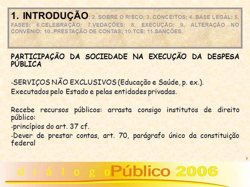 7 PARTICIPAÇÃO DA SOCIEDADE NA EXECUÇÃO DA DESPESA PÚBLICA - SERVIÇOS NÃO EXCLUSIVOS (Educação e Saúde, p. ex.). Executados pelo Estado e pelas entida