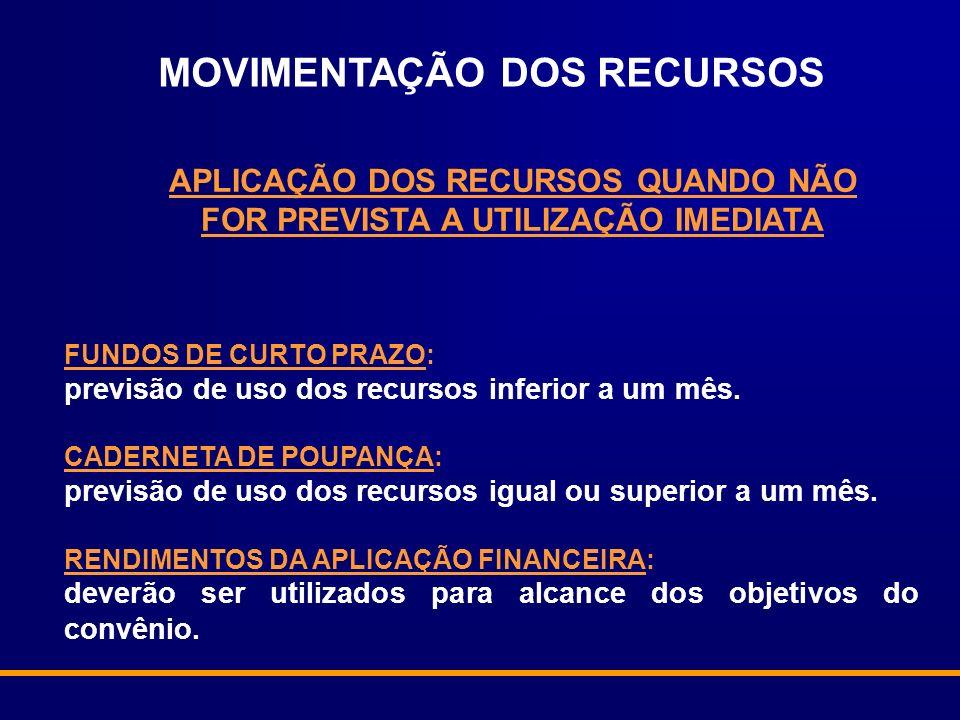 FUNDOS DE CURTO PRAZO: previsão de uso dos recursos inferior a um mês.