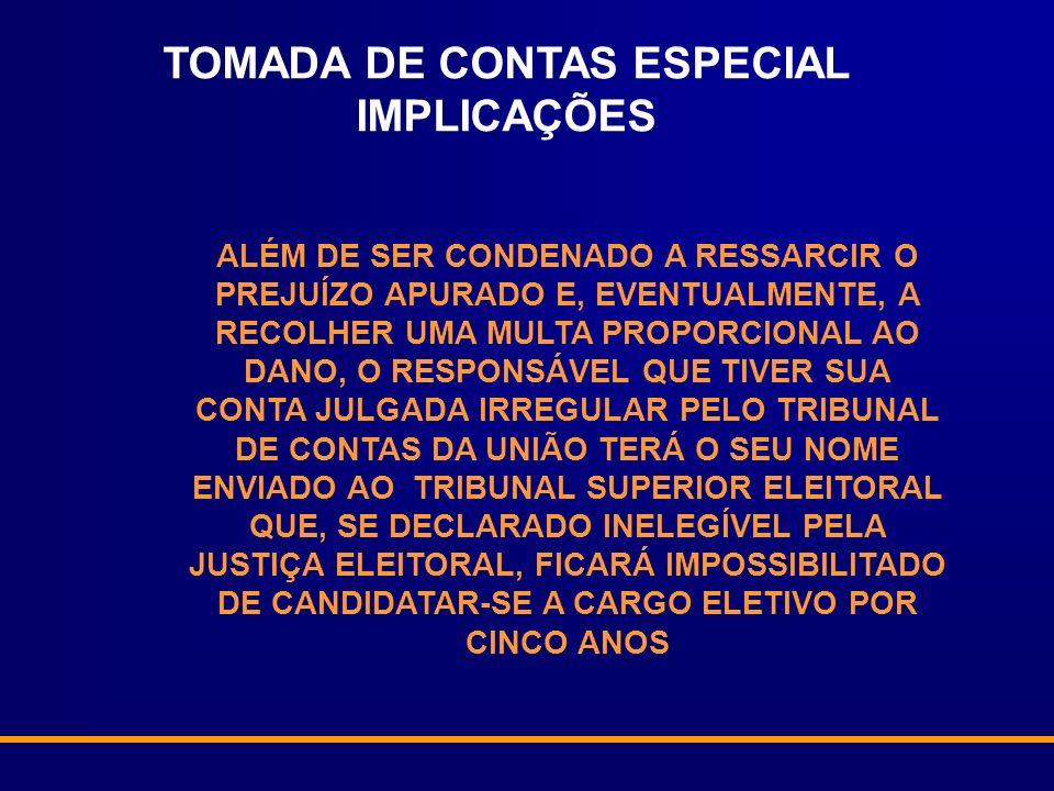 ALÉM DE SER CONDENADO A RESSARCIR O PREJUÍZO APURADO E, EVENTUALMENTE, A RECOLHER UMA MULTA PROPORCIONAL AO DANO, O RESPONSÁVEL QUE TIVER SUA CONTA JULGADA IRREGULAR PELO TRIBUNAL DE CONTAS DA UNIÃO TERÁ O SEU NOME ENVIADO AO TRIBUNAL SUPERIOR ELEITORAL QUE, SE DECLARADO INELEGÍVEL PELA JUSTIÇA ELEITORAL, FICARÁ IMPOSSIBILITADO DE CANDIDATAR-SE A CARGO ELETIVO POR CINCO ANOS TOMADA DE CONTAS ESPECIAL IMPLICAÇÕES