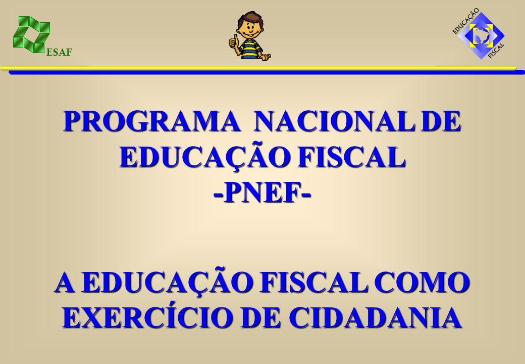 ESAF O PNEF tem os seguintes objetivos:GERAL: Promover e institucionalizar a educação fiscal para o pleno exercício da cidadania.ESPECÍFICOS: - Levar conhecimentos aos cidadãos sobre administração pública.