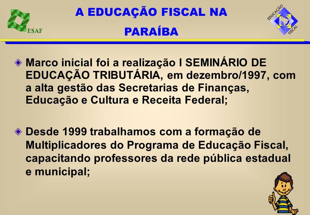 ESAF Marco inicial foi a realização I SEMINÁRIO DE EDUCAÇÃO TRIBUTÁRIA, em dezembro/1997, com a alta gestão das Secretarias de Finanças, Educação e Cu