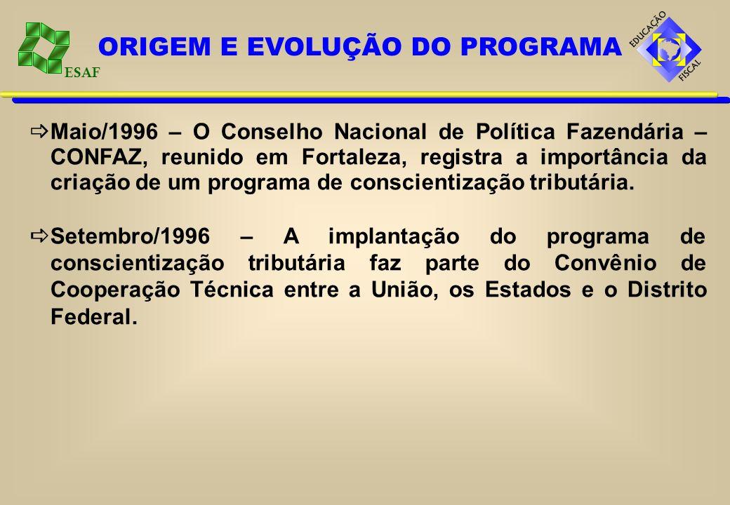 ESAF Maio/1996 – O Conselho Nacional de Política Fazendária – CONFAZ, reunido em Fortaleza, registra a importância da criação de um programa de consci