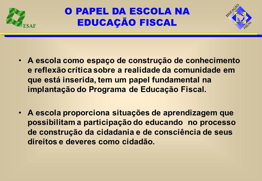 ESAF A escola como espaço de construção de conhecimento e reflexão crítica sobre a realidade da comunidade em que está inserida, tem um papel fundamen