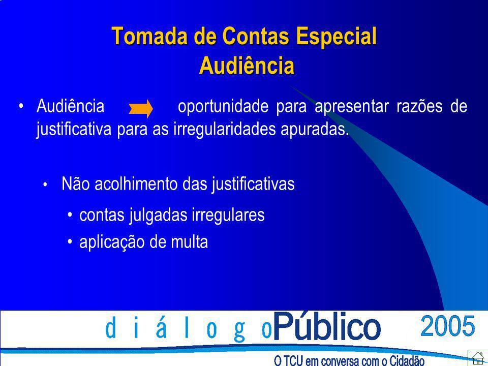 Tomada de Contas Especial Audiência Audiência oportunidade para apresentar razões de justificativa para as irregularidades apuradas. Não acolhimento d