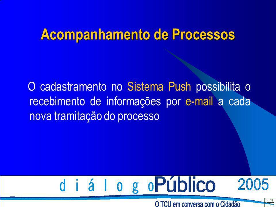 Acompanhamento de Processos O cadastramento no Sistema Push possibilita o recebimento de informações por e-mail a cada nova tramitação do processo