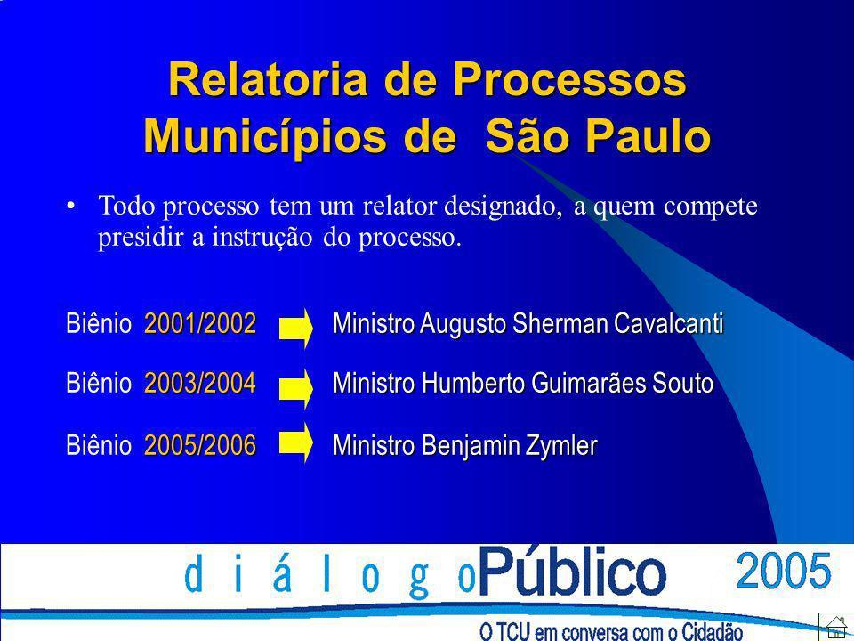 Relatoria de Processos Municípios de São Paulo Todo processo tem um relator designado, a quem compete presidir a instrução do processo. 2001/2002Minis
