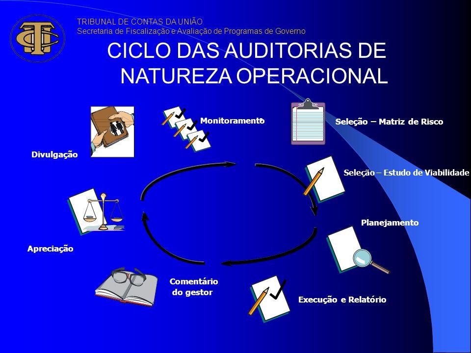 . Planejamento Execução e Relatório Comentário dogestor Apreciação Divulgação CICLO DAS AUDITORIAS DE NATUREZA OPERACIONAL Monitoramento Seleção – Mat