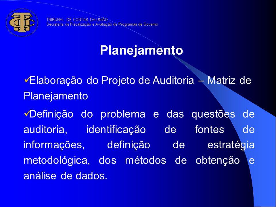 Planejamento Elaboração do Projeto de Auditoria – Matriz de Planejamento Definição do problema e das questões de auditoria, identificação de fontes de