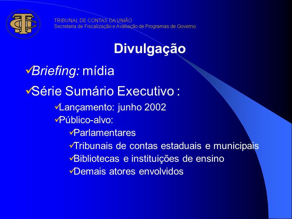 Divulgação Briefing: mídia Série Sumário Executivo : Lançamento: junho 2002 Público-alvo: Parlamentares Tribunais de contas estaduais e municipais Bib