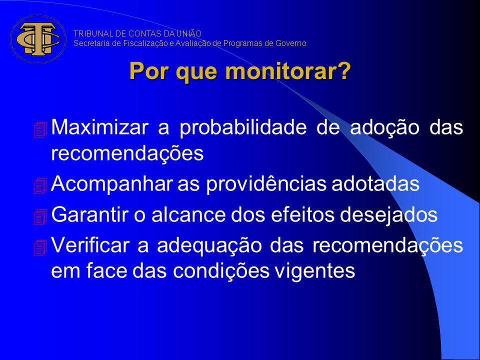 Por que monitorar? 4 Maximizar a probabilidade de adoção das recomendações 4 Acompanhar as providências adotadas 4 Garantir o alcance dos efeitos dese