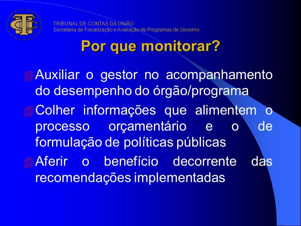 Por que monitorar? 4 Auxiliar o gestor no acompanhamento do desempenho do órgão/programa 4 Colher informações que alimentem o processo orçamentário e