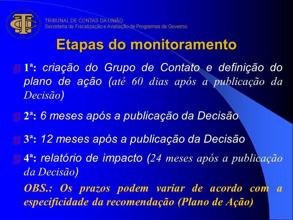 Etapas do monitoramento 1ª: criação do Grupo de Contato e definição do plano de ação ( até 60 dias após a publicação da Decisão ) 2ª: 6 meses após a p