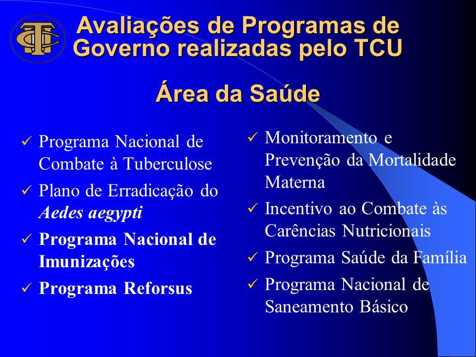 Avaliações de Programas de Governo realizadas pelo TCU Área da Saúde Programa Nacional de Combate à Tuberculose Plano de Erradicação do Aedes aegypti
