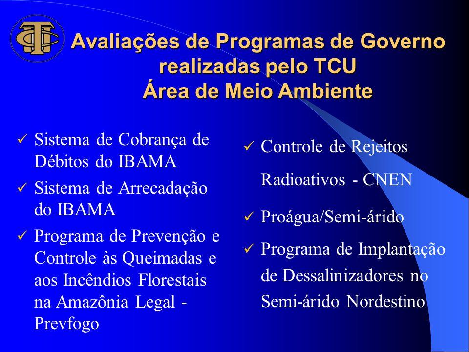 Avaliações de Programas de Governo realizadas pelo TCU Área de Meio Ambiente Sistema de Cobrança de Débitos do IBAMA Sistema de Arrecadação do IBAMA P
