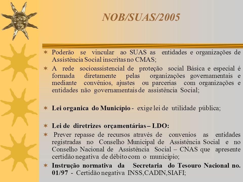 NOB/SUAS/2005 Poderão se vincular ao SUAS as entidades e organizações de Assistência Social inscritas no CMAS; A rede socioassistencial de proteção so