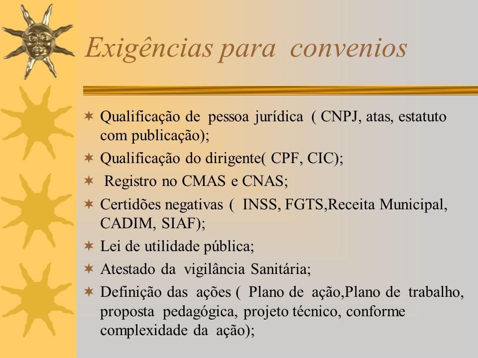 Exigências para convenios Qualificação de pessoa jurídica ( CNPJ, atas, estatuto com publicação); Qualificação do dirigente( CPF, CIC); Registro no CM