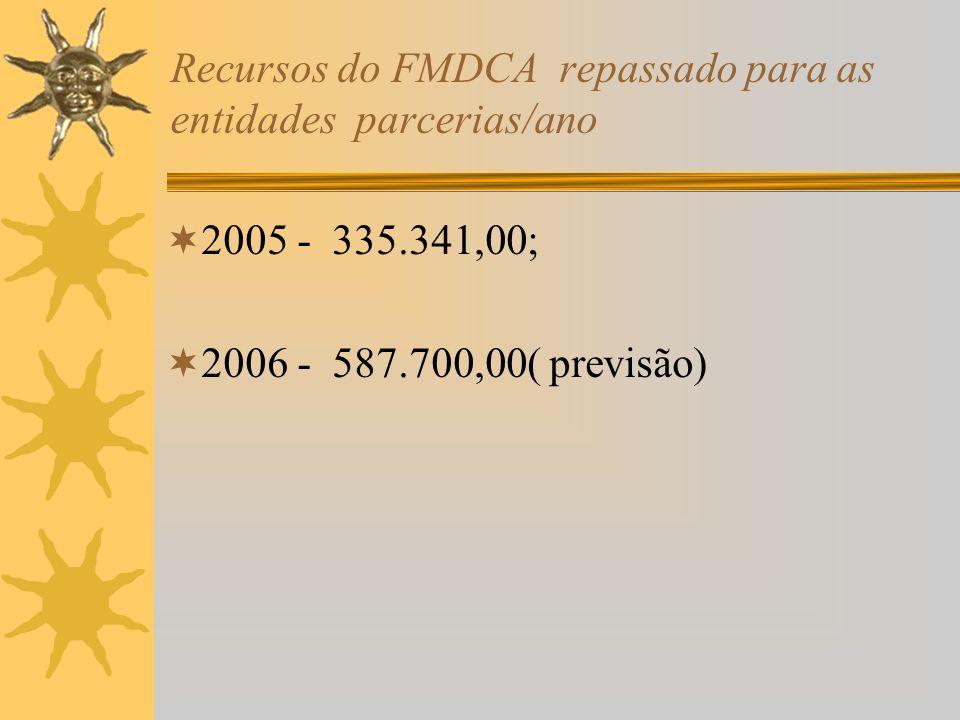 Recursos do FMDCA repassado para as entidades parcerias/ano 2005 - 335.341,00; 2006 - 587.700,00( previsão)