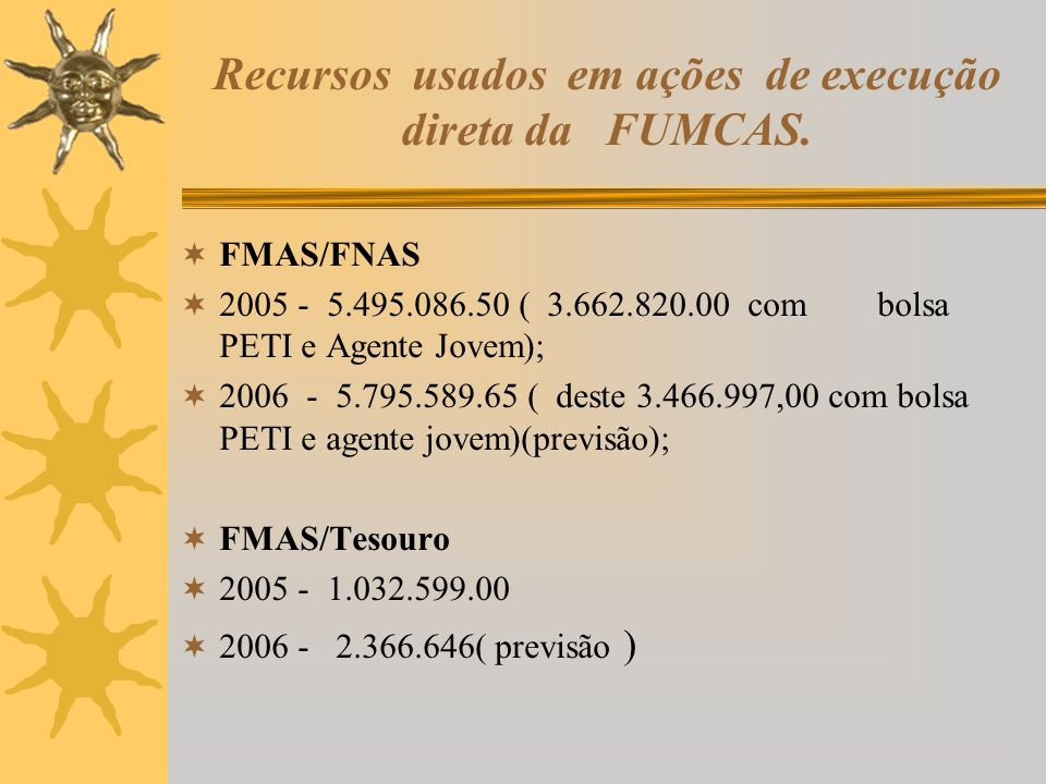 Recursos usados em ações de execução direta da FUMCAS. FMAS/FNAS 2005 - 5.495.086.50 ( 3.662.820.00 com bolsa PETI e Agente Jovem); 2006 - 5.795.589.6