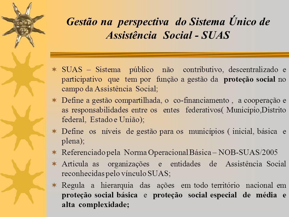 Gestão na perspectiva do Sistema Único de Assistência Social - SUAS SUAS – Sistema público não contributivo, descentralizado e participativo que tem p