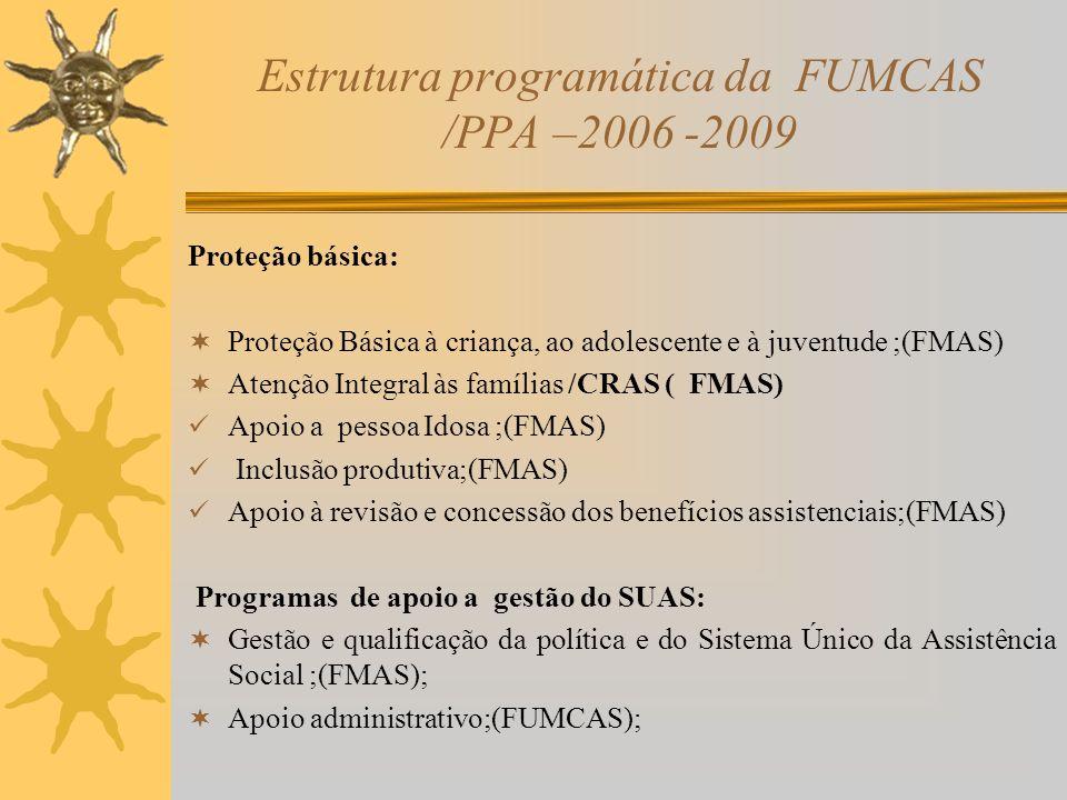Estrutura programática da FUMCAS /PPA –2006 -2009 Proteção básica: Proteção Básica à criança, ao adolescente e à juventude ;(FMAS) Atenção Integral às