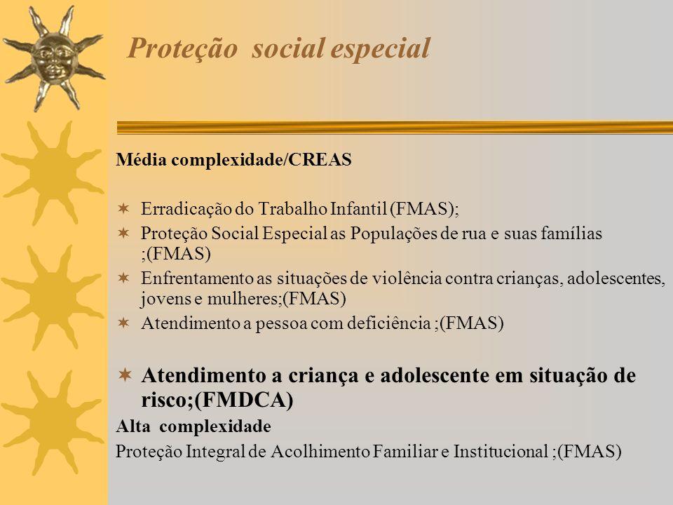 Proteção social especial Média complexidade/CREAS Erradicação do Trabalho Infantil (FMAS); Proteção Social Especial as Populações de rua e suas famíli