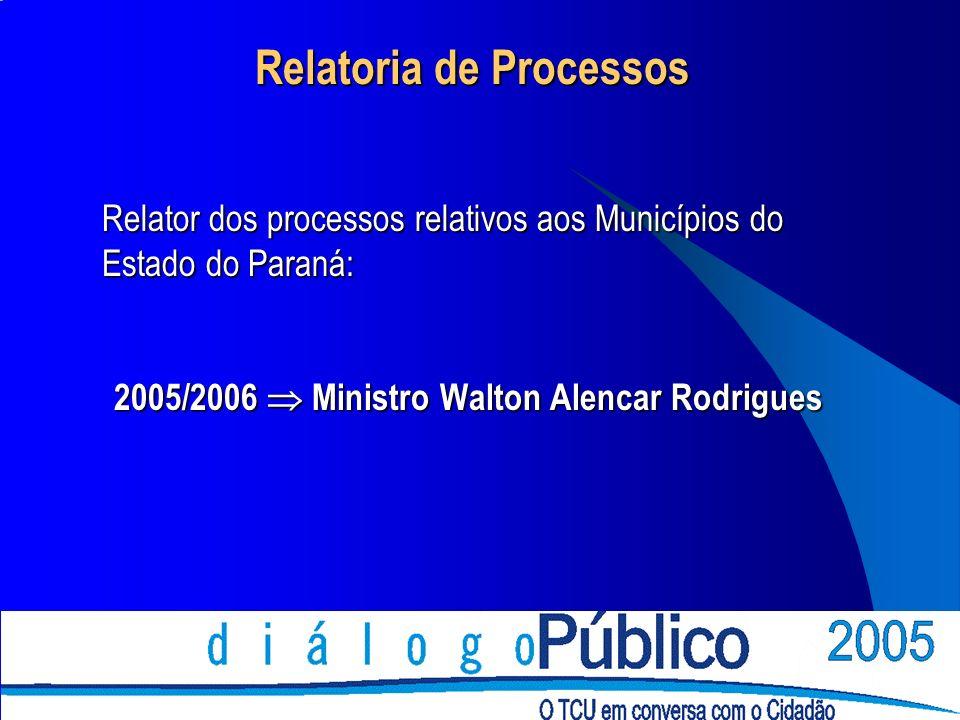 Relatoria de Processos Relator dos processos relativos aos Municípios do Estado do Paraná: 2005/2006 Ministro Walton Alencar Rodrigues