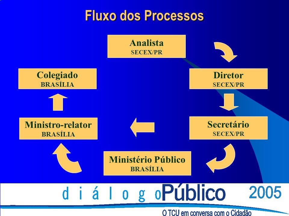 Analista SECEX/PR Diretor SECEX/PR Secretário SECEX/PR Ministério Público BRASÍLIA Ministro-relator BRASÍLIA Colegiado BRASÍLIA Fluxo dos Processos