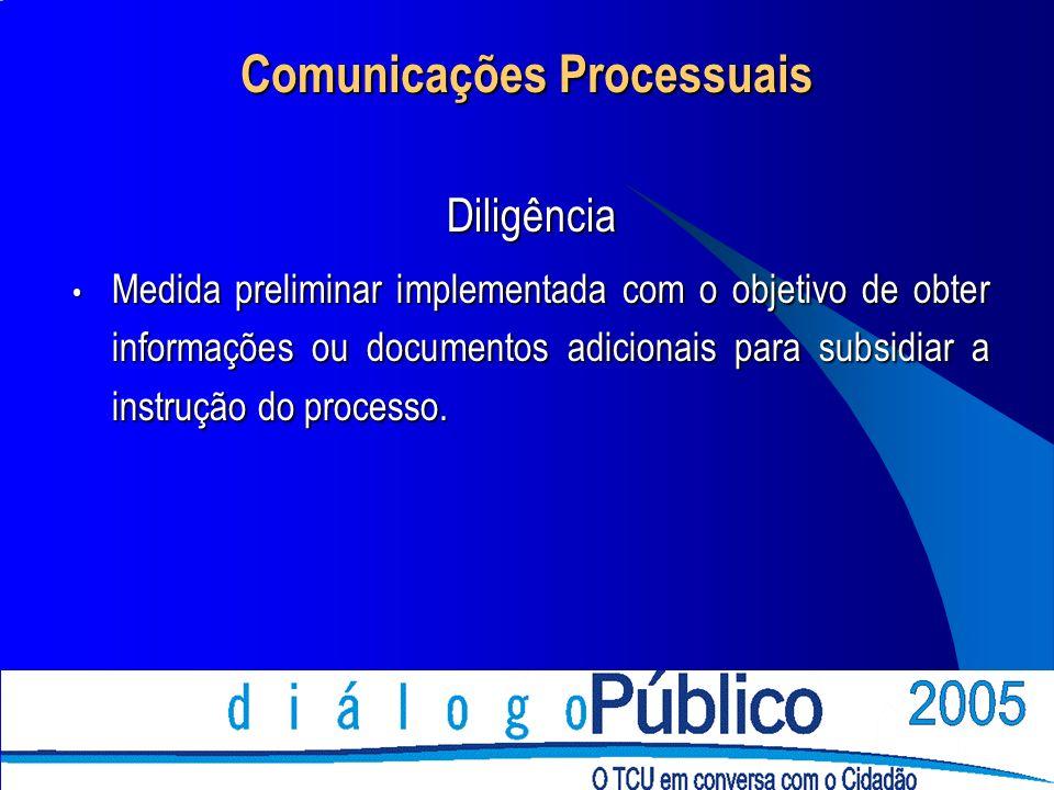 Comunicações Processuais Diligência Medida preliminar implementada com o objetivo de obter informações ou documentos adicionais para subsidiar a instrução do processo.
