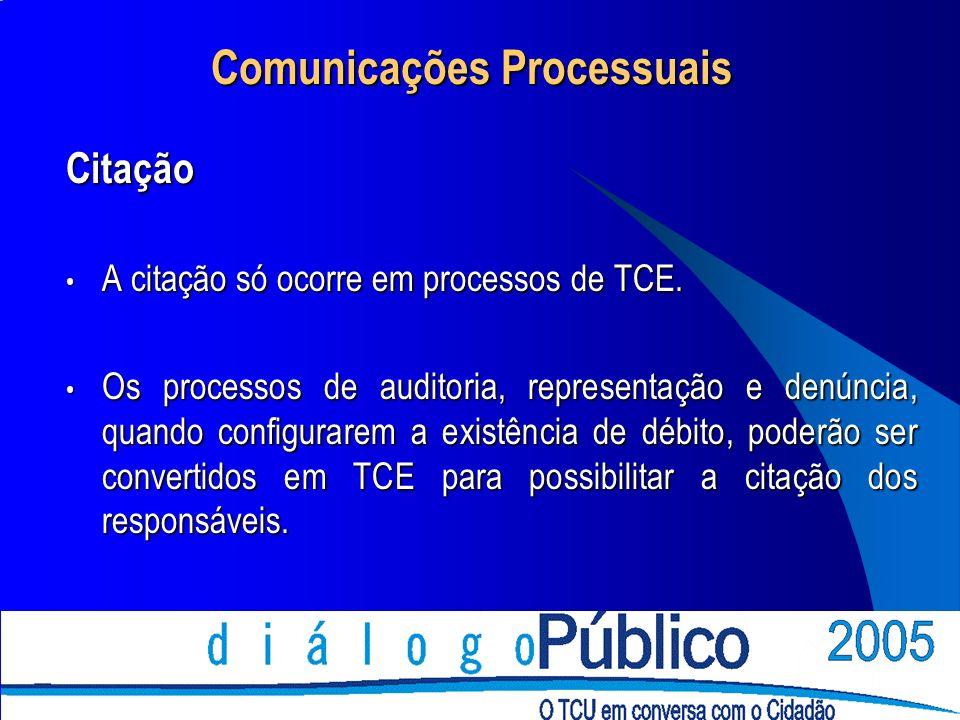 Comunicações Processuais Citação A citação só ocorre em processos de TCE.