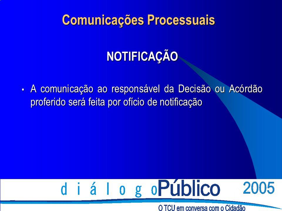 Comunicações Processuais NOTIFICAÇÃO A comunicação ao responsável da Decisão ou Acórdão proferido será feita por ofício de notificação A comunicação ao responsável da Decisão ou Acórdão proferido será feita por ofício de notificação