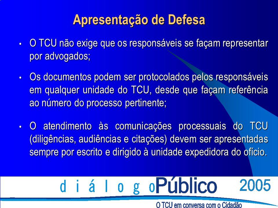 Apresentação de Defesa O TCU não exige que os responsáveis se façam representar por advogados; O TCU não exige que os responsáveis se façam representar por advogados; Os documentos podem ser protocolados pelos responsáveis em qualquer unidade do TCU, desde que façam referência ao número do processo pertinente; Os documentos podem ser protocolados pelos responsáveis em qualquer unidade do TCU, desde que façam referência ao número do processo pertinente; O atendimento às comunicações processuais do TCU (diligências, audiências e citações) devem ser apresentadas sempre por escrito e dirigido à unidade expedidora do ofício.