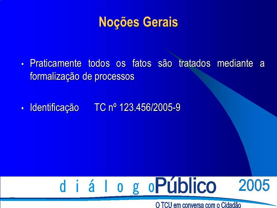 Noções Gerais Praticamente todos os fatos são tratados mediante a formalização de processos Praticamente todos os fatos são tratados mediante a formalização de processos Identificação TC nº 123.456/2005-9 Identificação TC nº 123.456/2005-9