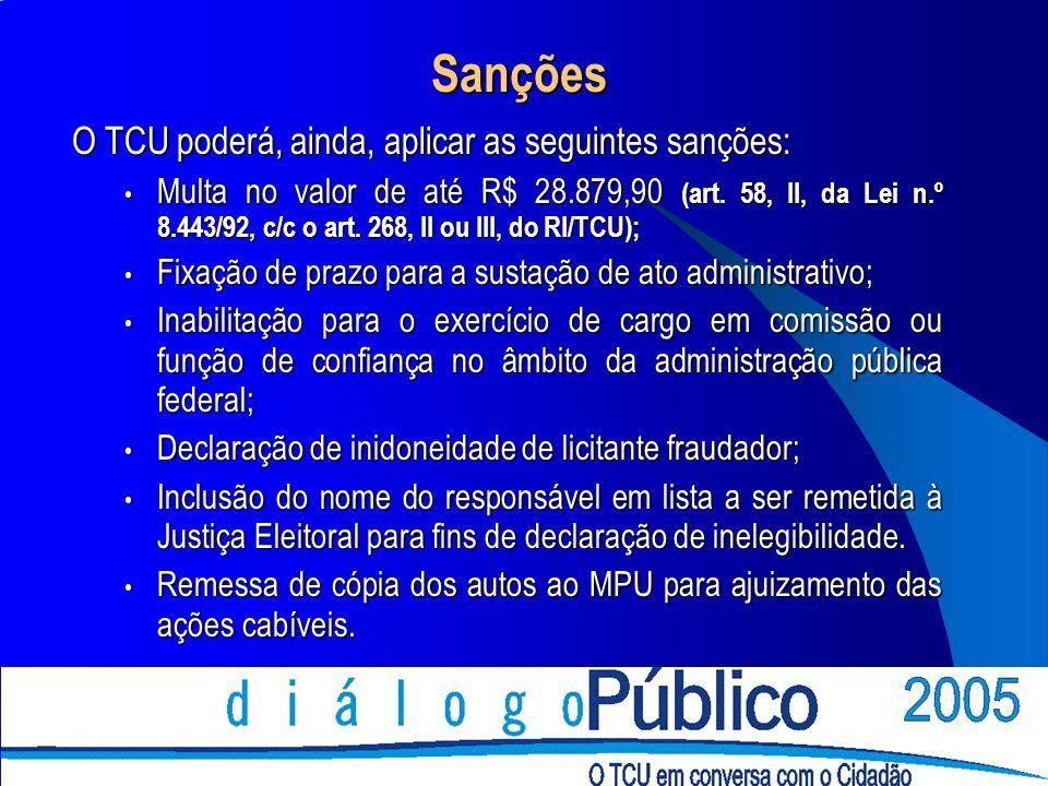 Sanções O TCU poderá, ainda, aplicar as seguintes sanções: Multa no valor de até R$ 28.879,90 (art.
