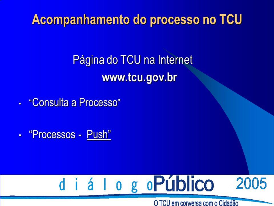 Acompanhamento do processo no TCU Página do TCU na Internet www.tcu.gov.br Consulta a Processo Consulta a Processo Processos - Push Processos - Push