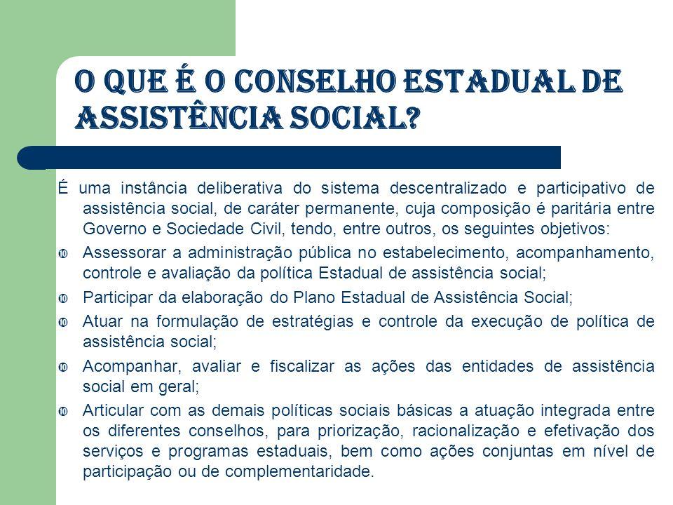 Competência: Aprovar, fiscalizar e avaliar os resultados da Política de Assistência Social no âmbito Estadual; Fiscalizar as entidades e organizações de assistência social (art.