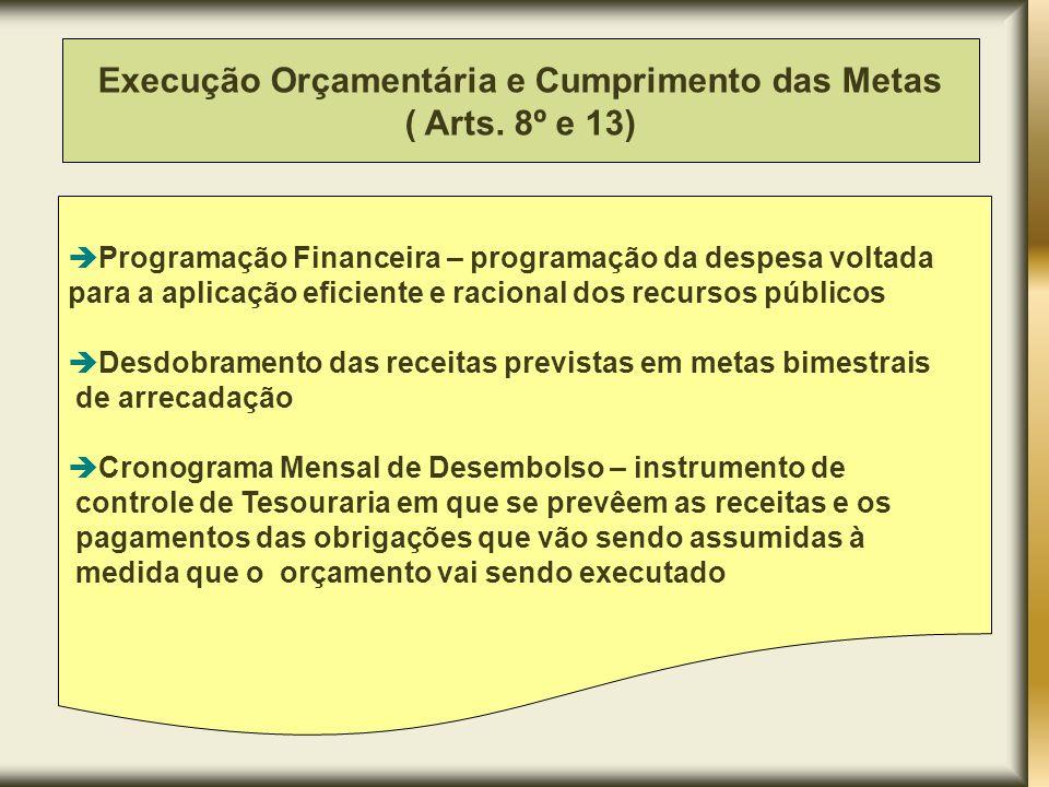 Quando a realização da receita não comportar o cumprimento das metas de resultado primário ou nominal Diante do excesso de dívida fundada ou consolidada (art.