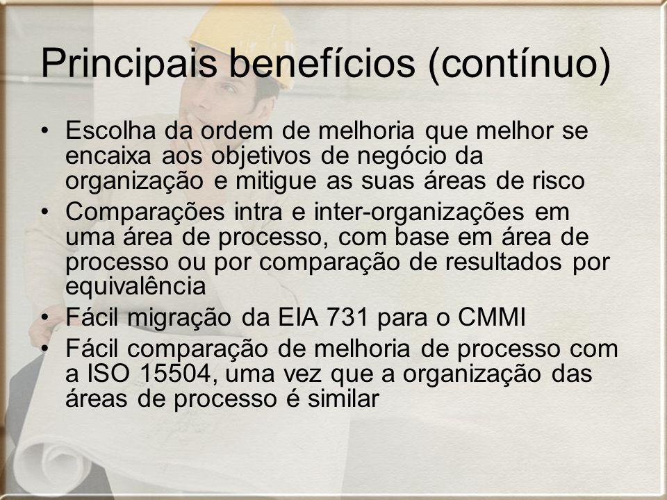 Principais benefícios (contínuo) Escolha da ordem de melhoria que melhor se encaixa aos objetivos de negócio da organização e mitigue as suas áreas de risco Comparações intra e inter-organizações em uma área de processo, com base em área de processo ou por comparação de resultados por equivalência Fácil migração da EIA 731 para o CMMI Fácil comparação de melhoria de processo com a ISO 15504, uma vez que a organização das áreas de processo é similar