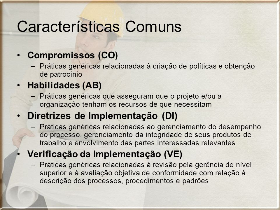 Características Comuns Compromissos (CO) –Práticas genéricas relacionadas à criação de políticas e obtenção de patrocínio Habilidades (AB) –Práticas genéricas que asseguram que o projeto e/ou a organização tenham os recursos de que necessitam Diretrizes de Implementação (DI) –Práticas genéricas relacionadas ao gerenciamento do desempenho do processo, gerenciamento da integridade de seus produtos de trabalho e envolvimento das partes interessadas relevantes Verificação da Implementação (VE) –Práticas genéricas relacionadas à revisão pela gerência de nível superior e à avaliação objetiva de conformidade com relação à descrição dos processos, procedimentos e padrões
