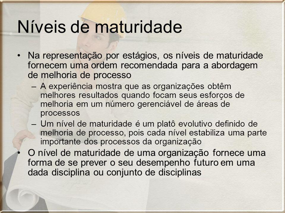 Níveis de maturidade Na representação por estágios, os níveis de maturidade fornecem uma ordem recomendada para a abordagem de melhoria de processo –A